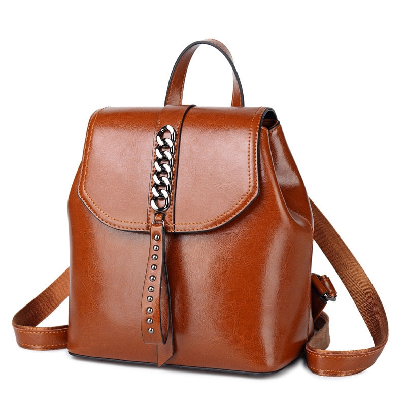 Fashion High Quality Genuine Leather Backpack For Girls Daypack Female Knapsack Vintage Women rivet Oil Wax Cowhide Rucksack