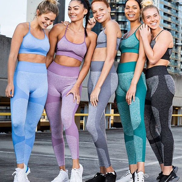Woman Gym Leggings Padded Push Up Strappy Sports Bra Sexy Sports Suits