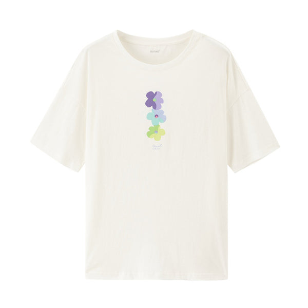 Literary Graffiti Flower Pure Cotton Loose All-match T-shirt