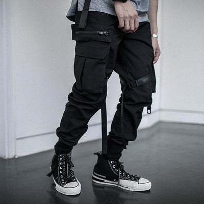 Hip Hop Joggers Men Black Harem Pants Multi-pocket Ribbons Man Sweatpants Streetwear Casual Mens Pants S-3XL