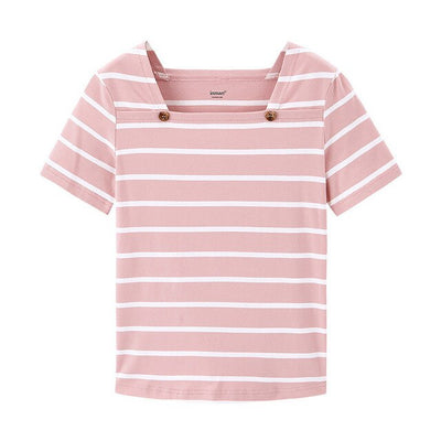 French Style Square-cut Collar Stripe Slimmed Retro Short Sleeve T-shirt