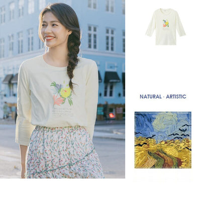 Spring New Arriavl Literary Flower Printed Loose All-match Base T-shirt