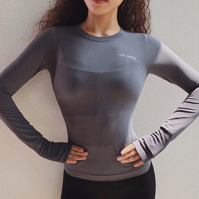 Sexy Women Letter Printing Sport Shirts High Elastic Gym Yoga Top
