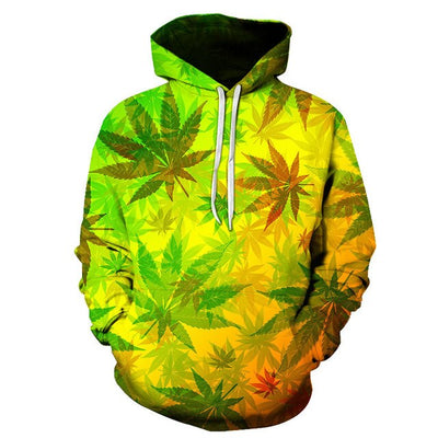 Weeds Sweatshirt Men / Women 3d Hoodies Print green leaves color pattern Slim Unisex Slim Stylish Hooded