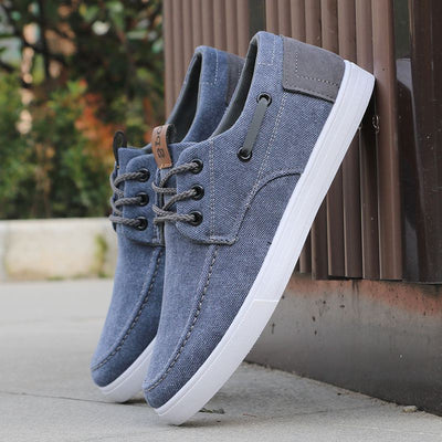 Summer Breathable Mens Shoes Casual Lace-up Canvas Shoes Men Sneakers High Quality Comfortable Non-slip Flats Shoes Man