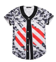 3D Short Sleeve T shirt Men Baseball Jersey Sport Slim Fit V Neck T-shirts Casual Streetwear Trendy Style