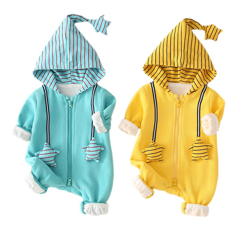 Spring Autumn Casual Baby Hooded Jumpsuits Striped Printing Long Sleeve Hooded Kids Bodysuits New Arrival