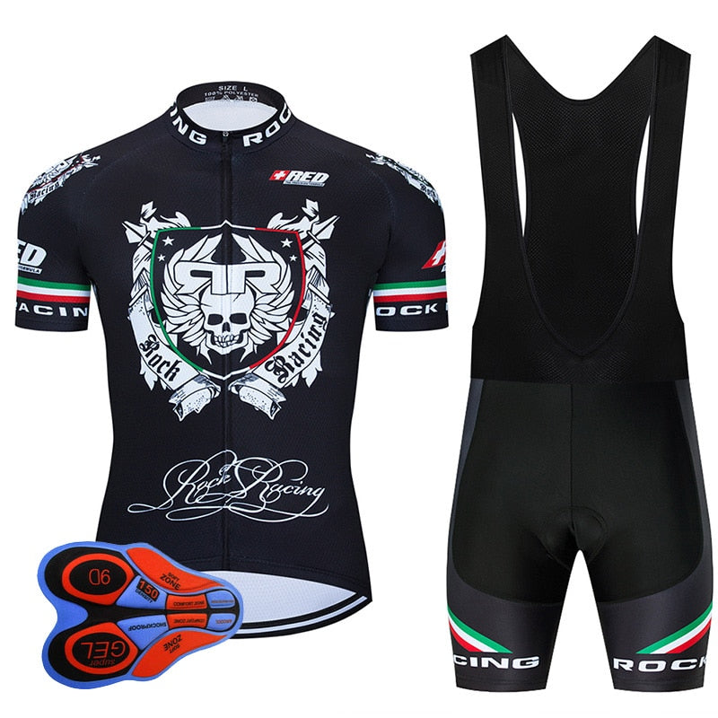 Rock Racing Cycling Clothing 9D Bib Set MTB Uniform Black Bicycle Clothes Quick Dry Bike Jersey Men's Short Maillot Culotte