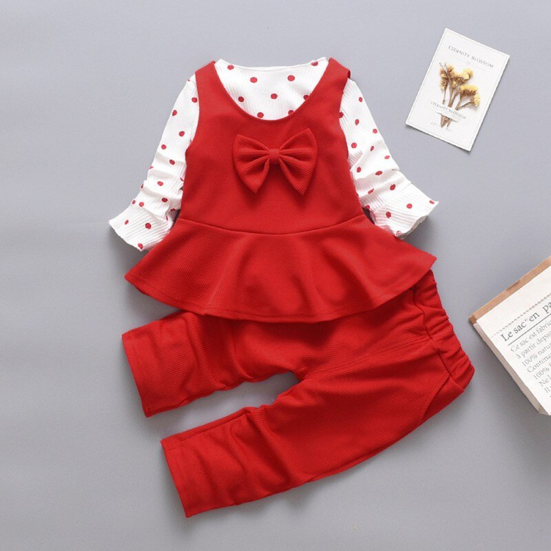 Kids Baby Girl Long Flare Sleeve Polka Dot Print T-shirt Tops+Bowknot Vest+Trousers Casual Outfits