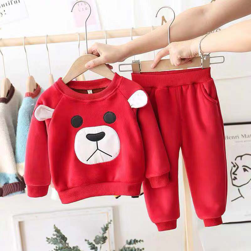 Winter Baby Boy Girl Clothes Outfits Long Sleeve Cartoon Bear Print Thicken Sweatshirt+Pants Casual Costume Set