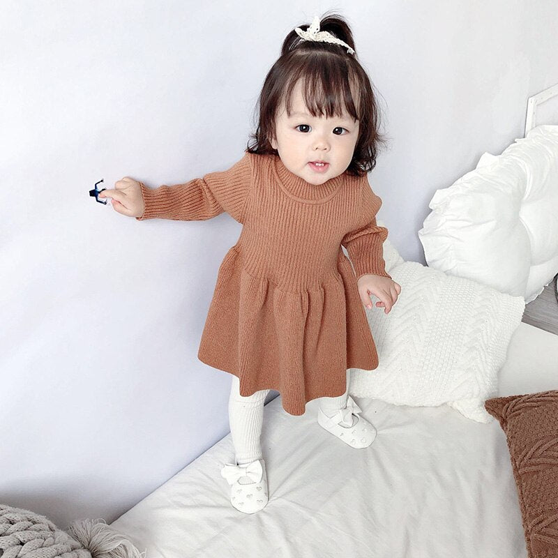 New Baby Party Dress Autumn Winter Dresses For Baby Girls Knitting Baptism Princess Dress Infant Princess Knitting Dresses