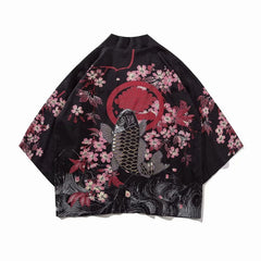 Japan Style Clothes Men Summer Streetwear Cat Print Kimono Cardigan Mandarin Robe Men Unisex Japanese Trend Kimonos