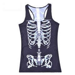 Summer Women's Sexy Blouses Strapless Sleeveless Digital Print Casual White skeleton Tank Tops Ladies' Vest