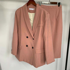 Women Blazer Suits Doule Breasted Pink Blazer High Waist Skirt Office Lady Sets