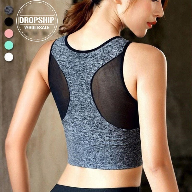 Sexy Back Yoga Bra Solid Cross Sports Tank Top Fast Dry Vest