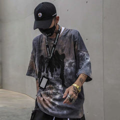 Tie Dye Print T Shirt Men Vintage Casual Cotton Tshirt Male Harajuku Streetwear Short Sleeve Shirts Hip Hop