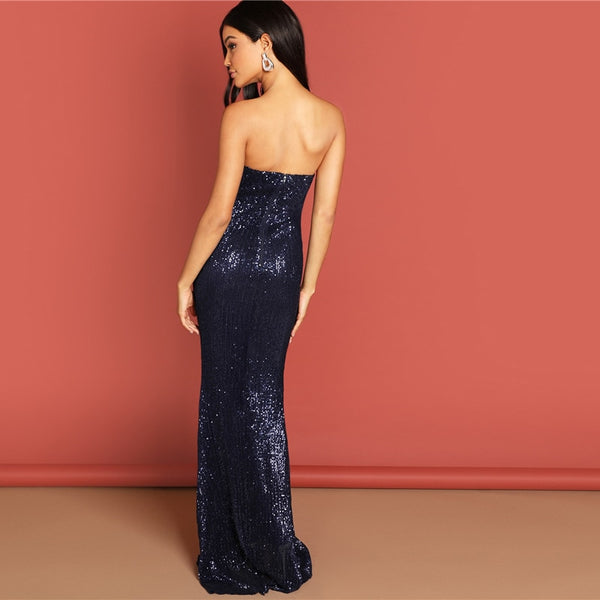 Navy Elegant Sequin Mesh Strapless Bodycon Evening Gown High Waist Zipper Back Solid Summer Women Party Dresses