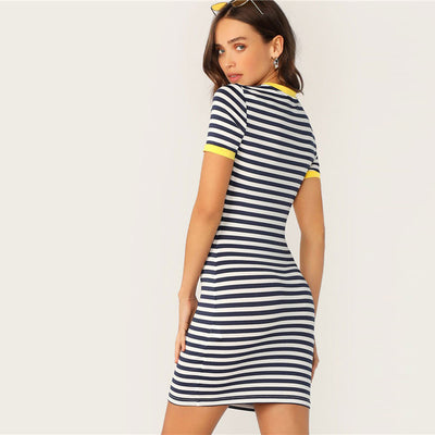 Pocket Patched Striped Ringer Tshirt Casual Dress Women Short Sleeve Preppy Round Neck Summer Dress Slim Bodycon Dresses
