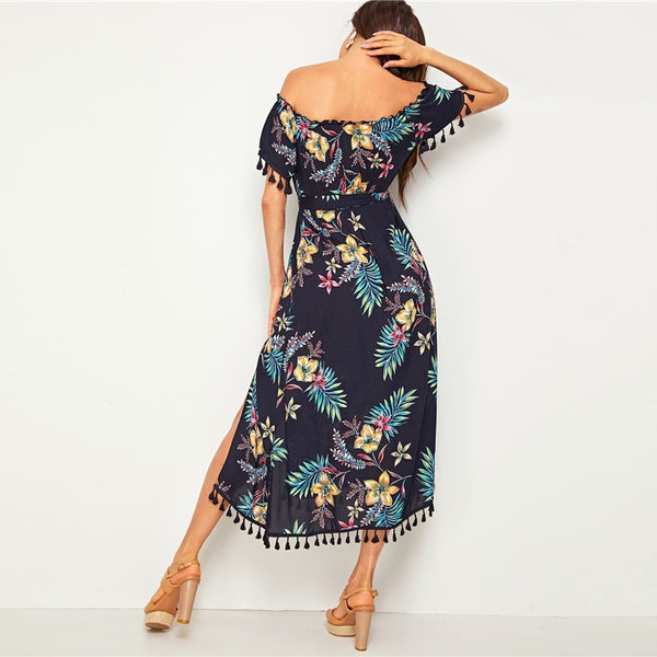 Navy Tropical Print Tassel Trim Split Thigh Belted Bardot Dress Women Summer Off the Shoulder High Waist Boho Long Dresses