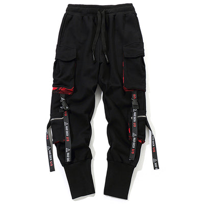 Ribbons Pockets Harem Pants Men Streetwear Autumn Winter Sweatpants Hip Hop Joggers Slim Men Pencil Pants