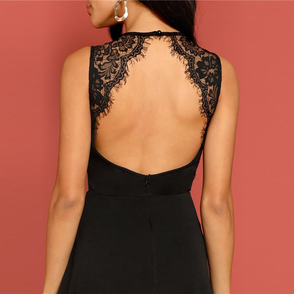 Sexy Black Lace Insert Open Back Skater Fit and Flare High Waist Sleeveless Fitted Mini Dress Women Summer Solid Dresses