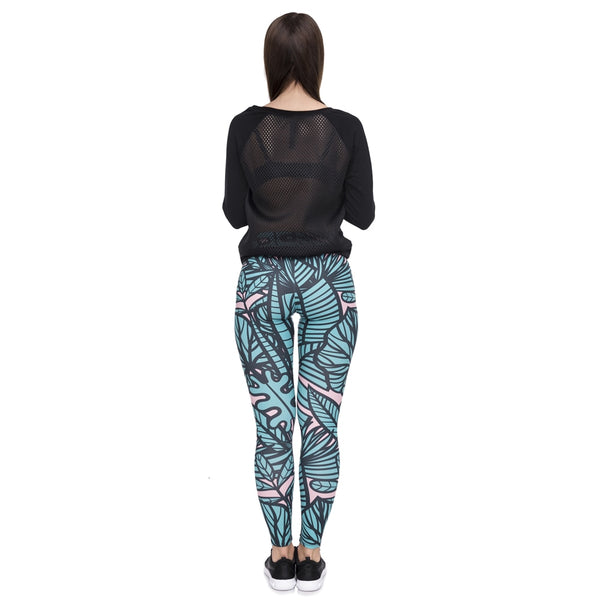Leggins mujer Green Tropical Leaves Printing legging feminina leggins fitness Woman Pants workout leggings