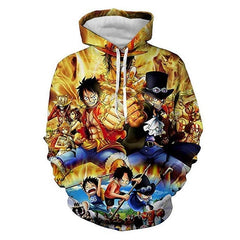 Anime One Piece Hoodies 3D Print Pullover Sweatshirt Monkey D Luffy Ace Sabo Shanks Law Battle Tracksuit Outfit Casual Outerwear