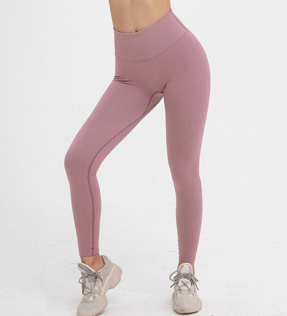Women Seamless Rib Stretch Yoga Pants Active Squat Leggings