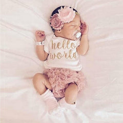 Summer Baby Girl Short Sleeve Clothes Set Newborn Clothes 3Pcs Bodysuits+PP Pants+Headband Infant Baby Outfits For Girls D30