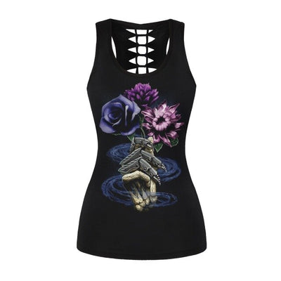 Sexy Women Tank Tops Gothic Style Black Tops Sunflower Printed Vest Hollow Out Back Sleeveless T-top