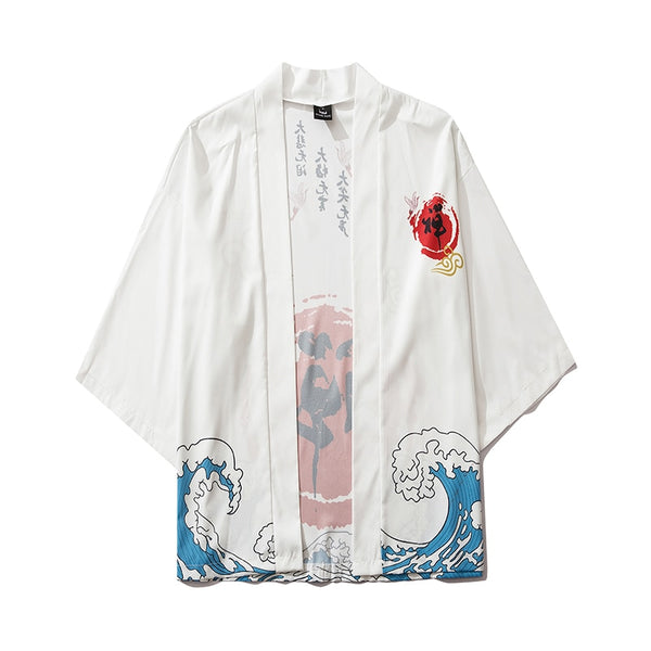 Harajuku Japanese Waves Casual White Kimono Streetwear Men Women Cardigan Chinese Character Thin Robe Clothing