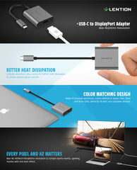 USB-C to DisplayPort Adapter, Supports 4K/60Hz (USB 3.1 Type C & Thunderbolt 3 Port Compatible) for New MacBook Pro & Air