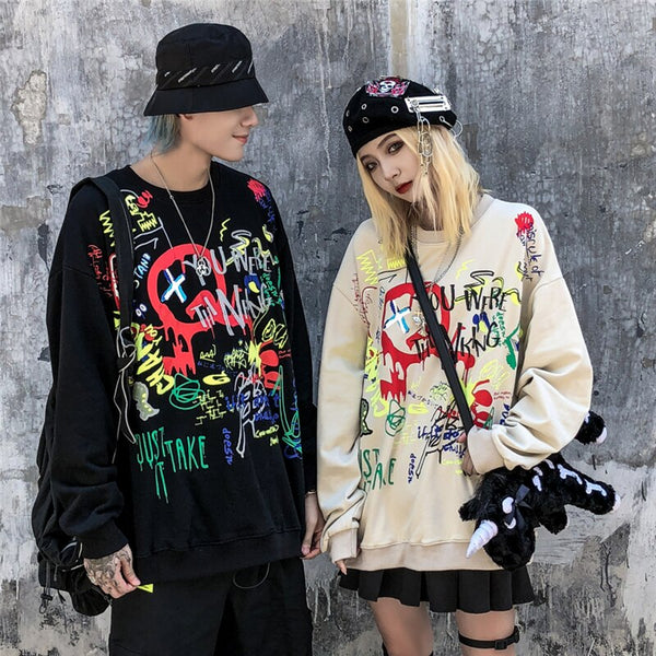Harajuku Hiphop Graffiti Pullover Sweatshirts Hoodies Hip Hop Hipster Casual Streetwear Black Hoodie Cotton Tops