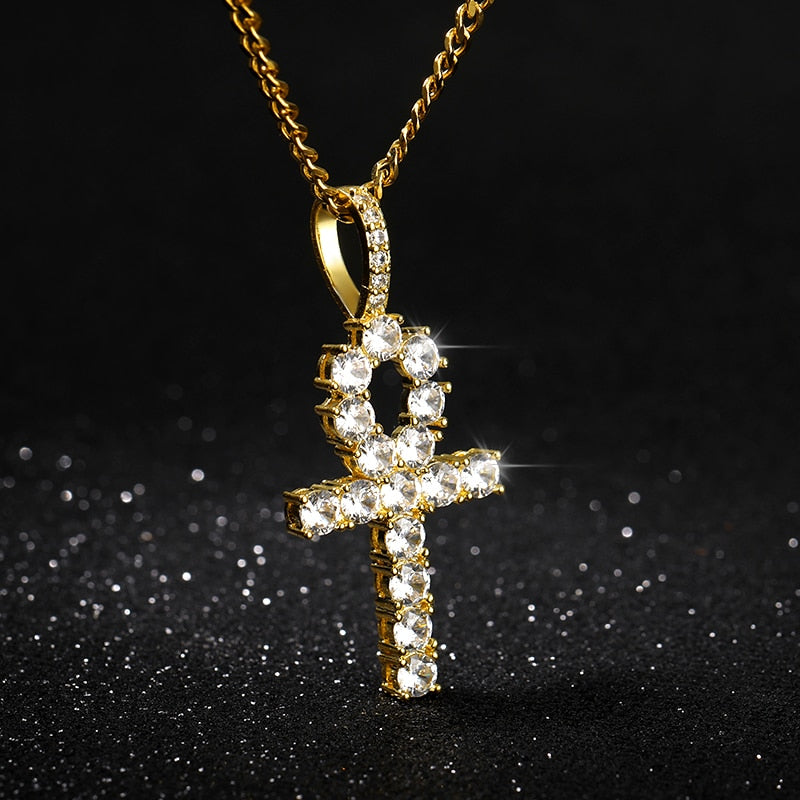 Iced Out Crystal Zircon Cross Necklace Stainless Steel Key of Life Pendant Necklaces Gold Chain Punk Jewelry