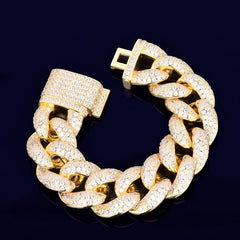 "23mm Chunky Miami Cuban Chain Bracelet AAA Zirconia Men Hip hop Jewelry Gold Color Big Lock Bangle 7"" 8"""