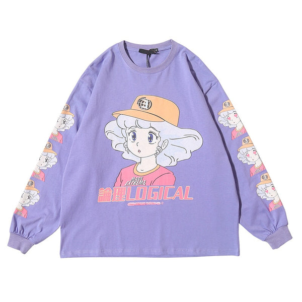 Sweatshirt Cartoon Comics Print Pullover Hip Hop College Style Streetwear