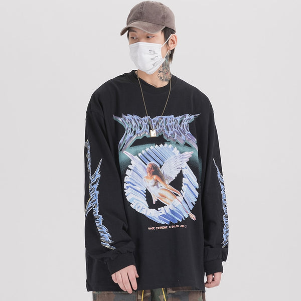 Pullover Casual Style Ancient Culture Painting O-neck Baggy All-match Cozy Streetwear
