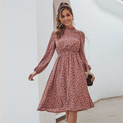 Red Ditsy Floral Print Stand Collar Casual Dress Women Spring High Waist Bishop Sleeve A Line Frill Midi Dresses