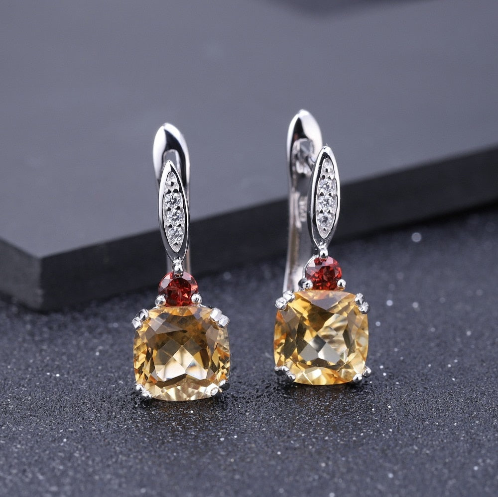 5.21Ct Cushion Natural Citrine Garnet 925 Sterling Silver Birthstone Stud Earrings for Women Wedding Fine Jewelry