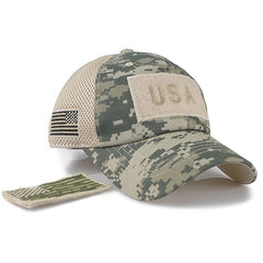 Tactical Camouflage Baseball Caps Men Summer Mesh Military Army Caps Constructed Trucker Cap Hats With USA Flag Patches