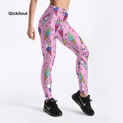 Women Leggings Fashion Workout Fitness High Waist Pants Trousers Stripe Ice cream Cone Printed Lovely Style