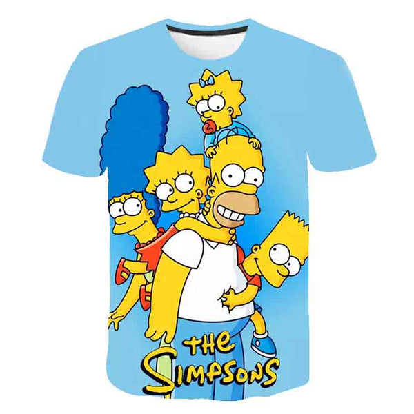 Men and women fat T-shirt Simpson print 3D T-shirt cartoon funny Simpson family T-shirt O-neck short-sleeved casual T-shirt