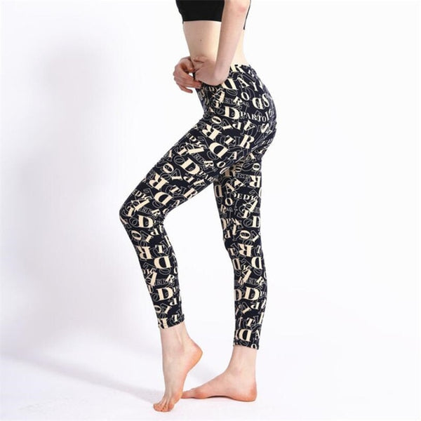 Fashion Girl Legging Spandex Aptitud Print Floral Leggings Leggins Milk Silk