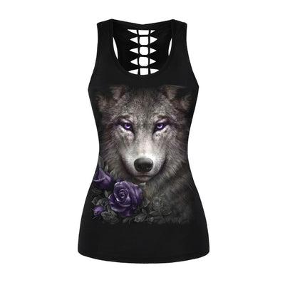 Women Summer Tank Top Wolf Print Punk Backless Top Black Hollow Top Fitness Sexy Vest Clothing