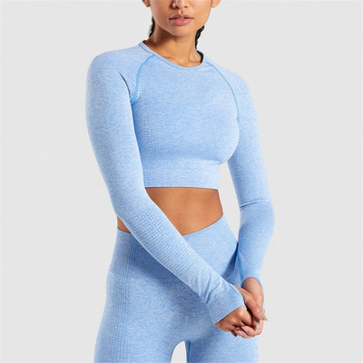 Women Thumb Hole Sportswear Fitness Sport Suit Yoga Seamless Sexy Crop Top Tracksuit