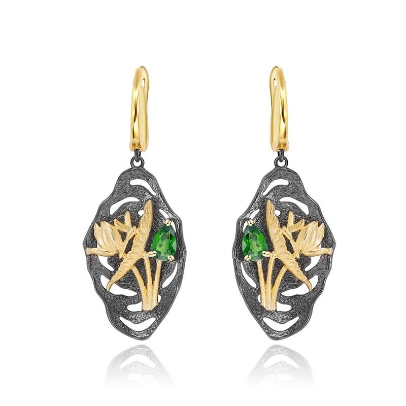 Handmade Dragonfly Lotus Flower Nature Chrome Diopside Woman's Gemstone Earrings 925 Sterling Silver Art Jewelry