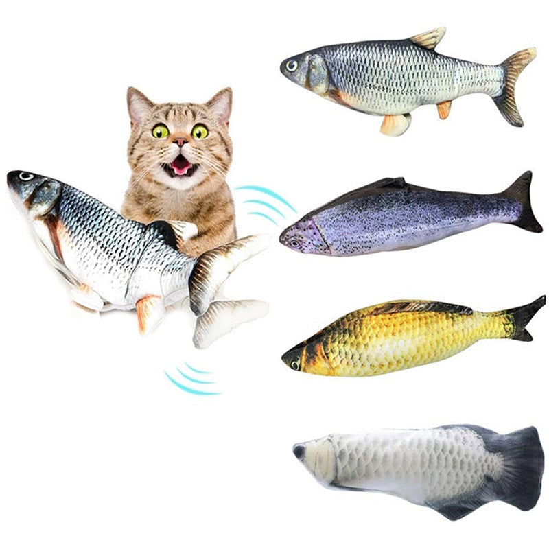 30cm Moving Fish Electric Toy For Cat USB Charger Interactive Cat Chew Bite Toys Catnip Supplies Kitten Fish Flop Cat Toy