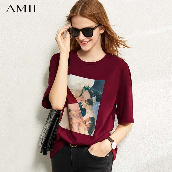 round neck printed cotton short sleeve T-shirt women's new  spring Summer top
