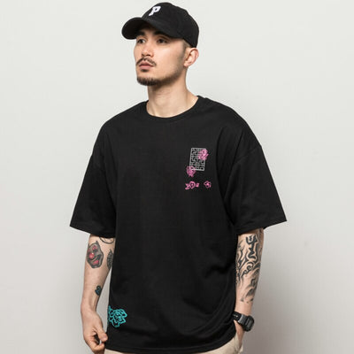Streetwear Ancient Chinese Kanji Crane Tshirt Harajuku Summer Short Sleeve T-Shirt Cotton Tops Tees