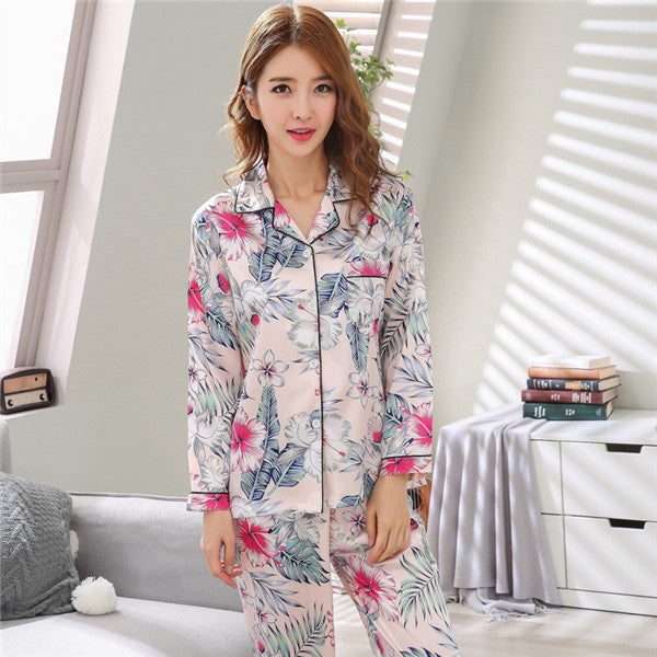 Women Pajamas Faux Silk Sleepwear Satin Pajamas Set Homewear